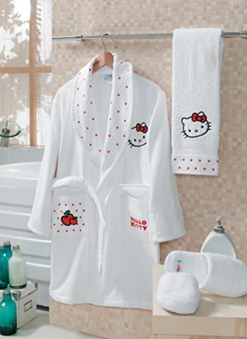 Hello Kitty Bornoz Takım Beyaz